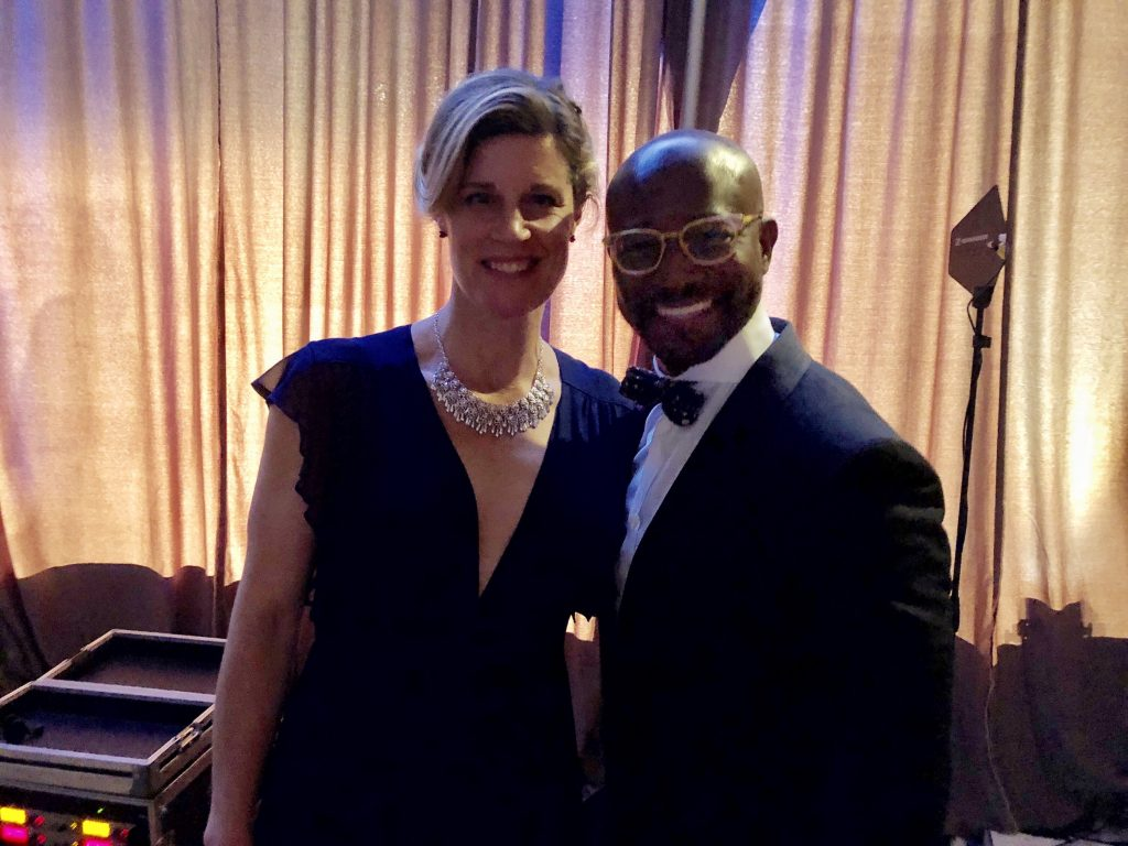 Standing backstage with Taye Diggs after presenting the Best Writing Award