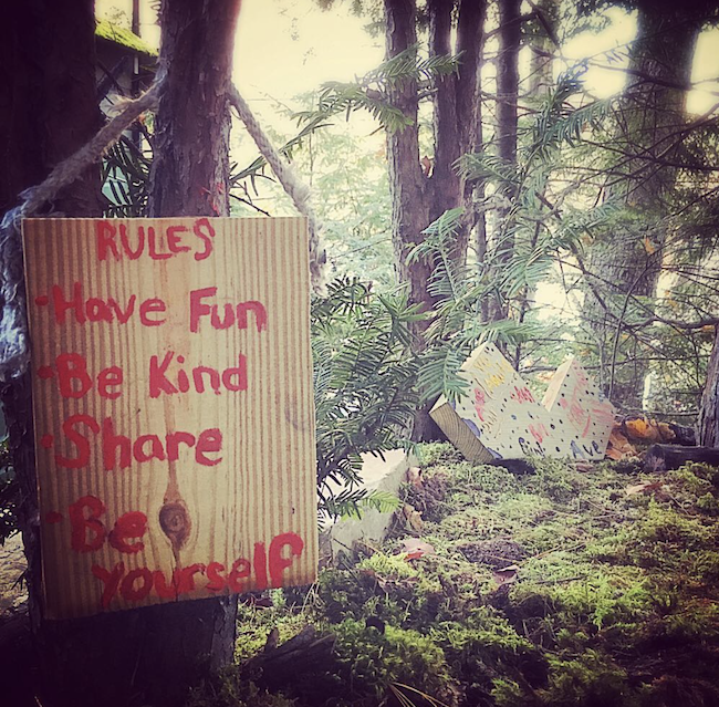 The girls handprinted a sign reading: Rules—Have fun, be kind, share, be yourself