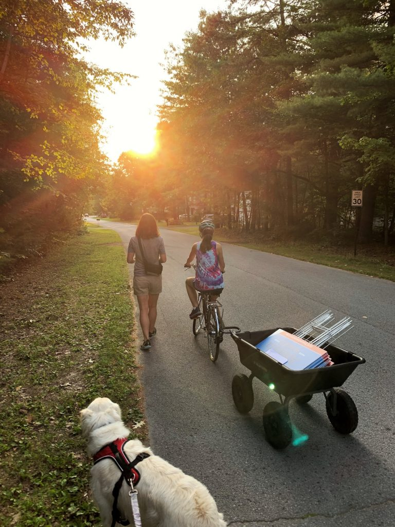 A woman walks down a residential street as her daughter rides a bike beside her. The sun is setting ahead of them and a white dog can be seen following them.